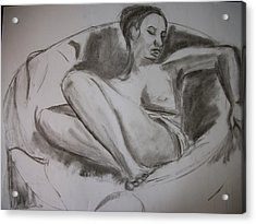 Nude In Chair Acrylic Print by Adam Davis