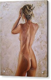 Nude Acrylic Print by Natalia Tejera