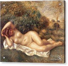 Nude Acrylic Print by Pierre Auguste Renoir