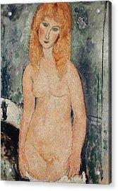 Nude Standing Acrylic Print by Amedeo Modigliani