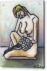 Nude With White Flowers Acrylic Print by Kamil Swiatek