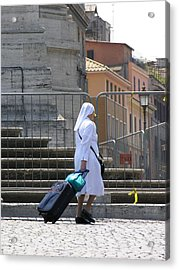 Nun Dragging Her Suitcase Acrylic Print by Shirley Stevenson Wallis