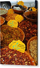 Nuts, Dried Fruits And Vegetables Acrylic Print by Anne Keiser