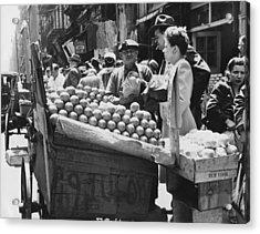 Ny Push Cart Vendors Acrylic Print by Underwood Archives