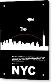 Nyc Night Poster Acrylic Print by Naxart Studio