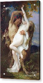 Nymph Abducted By A Faun Acrylic Print by Alexandre Cabanel