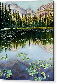 Nymph Lake Acrylic Print by Mary Benke