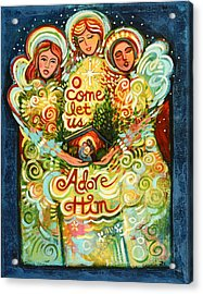 O Come Let Us Adore Him With Angels Acrylic Print by Jen Norton