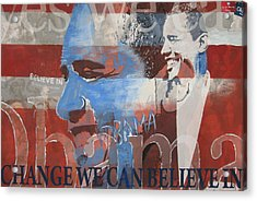 Obama Yes Acrylic Print by Xavier Carter