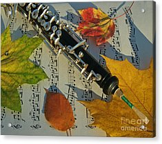 Oboe And Sheet Music On Autumn Afternoon Acrylic Print by Anna Lisa Yoder