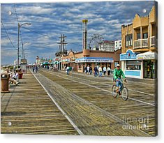 Ocean City Boardwalk Acrylic Print by Edward Sobuta