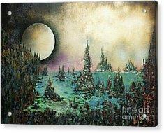 Ocean Moonrise Acrylic Print by Kaye Miller-Dewing