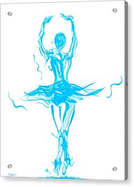 Oceanic Blue Ballerina Twirling Acrylic Print by Abstract Angel Artist Stephen K
