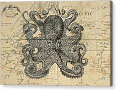 Octopus Sea Chart Acrylic Print by Erin Cadigan