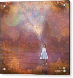 Off To Fairy Land - By Way Of Fairyloons Acrylic Print by Carrie Jackson