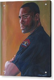 Officer Acrylic Print by Connie Schaertl