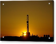 Oil Rig Near Killdeer In The Morn Acrylic Print by Jeff Swan
