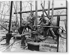 Oil Rig Workers, Called Roughnecks Acrylic Print by Everett