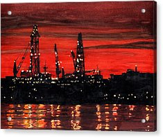 Oil Rigs Night Construction Portland Harbor Acrylic Print by Dominic White