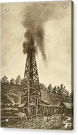Oil Well With A Gusher In The Oil Acrylic Print by Everett
