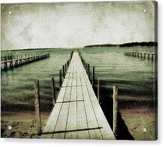 Okoboji Docks Acrylic Print by Julie Hamilton