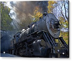 Old 734 Locomotive Train On The Western Maryland Scenic Railroad Acrylic Print by Brendan Reals