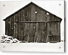 Old Barn In Winter Acrylic Print by Dan Sproul