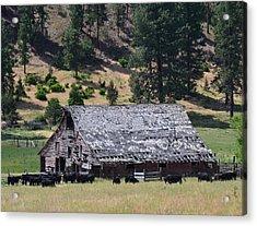 Old Barn Acrylic Print by Linda Larson