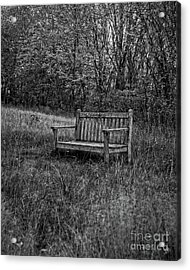Old Bench Concord Massachusetts Acrylic Print by Edward Fielding