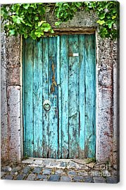 Old Blue Door Acrylic Print by Delphimages Photo Creations