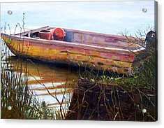 Old Boat At Mcclellandville Acrylic Print by Elaine Schulstad
