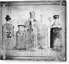 Old Bottles With Texture  Bw Acrylic Print by Barbara Henry