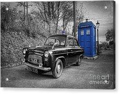 Old British Police Car And Tardis Acrylic Print by Yhun Suarez
