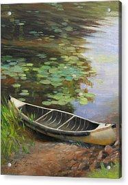 Old Canoe Acrylic Print by Anna Rose Bain