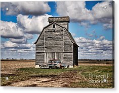 Old Car And Barn Acrylic Print by Scott Nelson