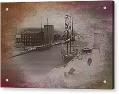 Old Chicago 08 River View Textured Acrylic Print by Thomas Woolworth