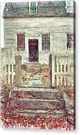 Old Colonial Home Shaker Village Pencil Acrylic Print by Edward Fielding