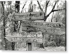 Old Directional Signs At Fort Cooper  Acrylic Print by Debra Forand