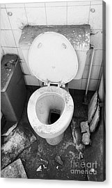 Old Dirt Covered Toilet In An Old Factory Warehouse Unit Belfast Northern Ireland Uk Acrylic Print by Joe Fox