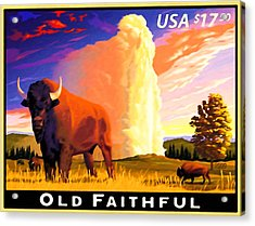 Old Faithful Yellowstone Acrylic Print by Lanjee Chee