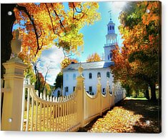 Old First Church Of Bennington Acrylic Print by Thomas Schoeller