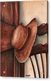 Old Garden Hat Acrylic Print by Angela Armano