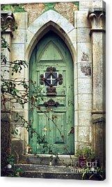 Old Gothic Door Acrylic Print by Carlos Caetano