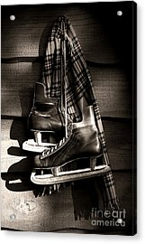 Old Hockey Skates With Scarf Hanging On A Wall Acrylic Print by Sandra Cunningham