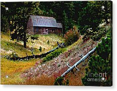 Old Horse Barn In The Draw Acrylic Print by Terril Heilman