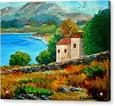 Old House In Mani Acrylic Print by Constantinos Charalampopoulos