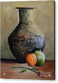 Old Jug And Fruit Acrylic Print by Martin Schmidt