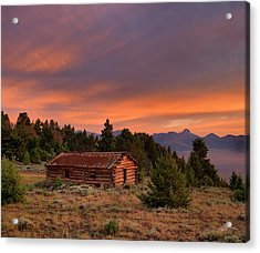 Old Log Cabin Acrylic Print by Leland D Howard
