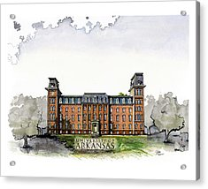 Old Main Of University Of Arkansas Diploma Size Acrylic Print by Yang Luo-Branch