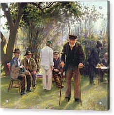 Old Men In Rockingham Park Acrylic Print by Walter Bonner Gash